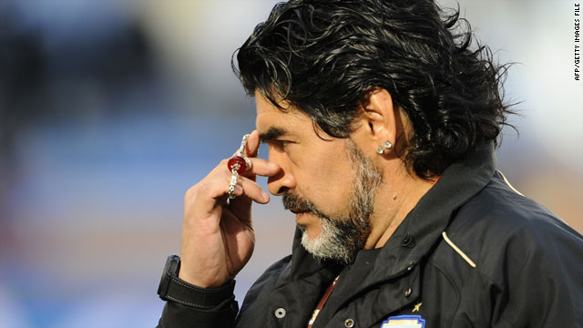 Diego Maradona took Argentina to the quarterfinals of the 2010 World Cup, where the team lost 4-0 to Germany.