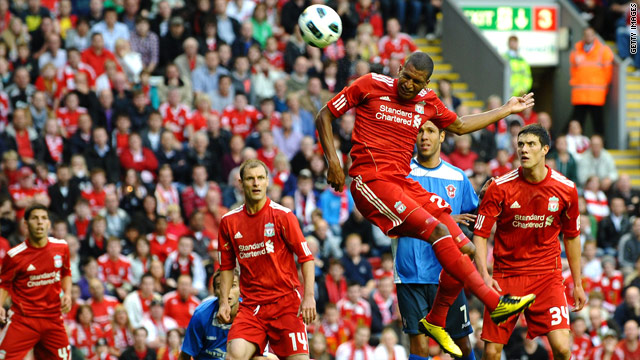 David Ngog heads Liverpool into the lead against Rabotnicki Kometal.