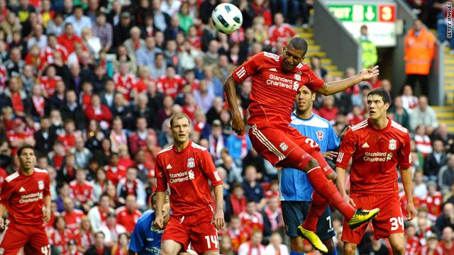 David Ngog heads Liverpool into the lead against Rabotnicki Kometal.