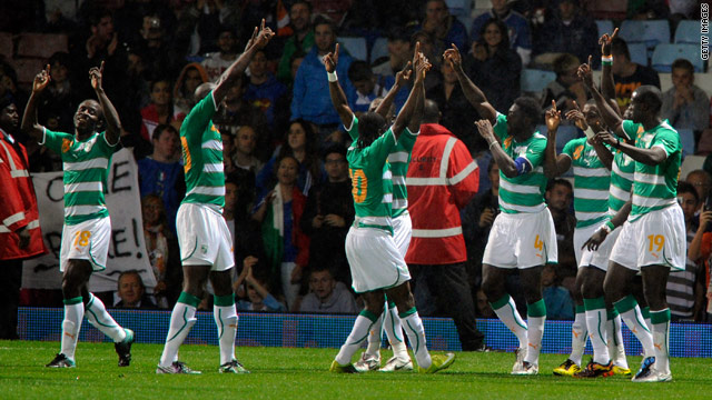Ivory Coast players celebrate Kolo Toure's goal in their 1-0 victory over Italy in London.