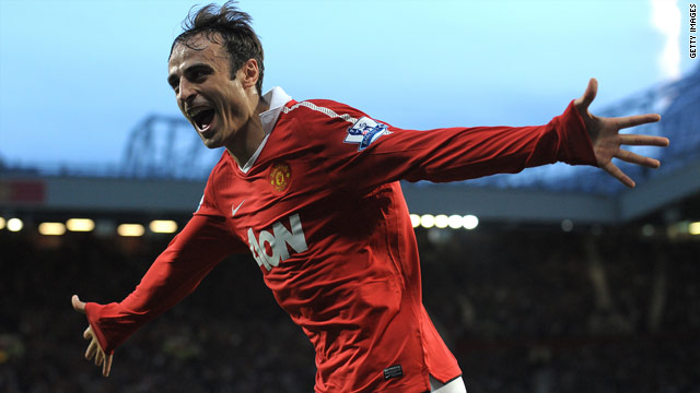 Dimitar Berbatov celebrates opening the scoring for Manchester United against Newcastle United.