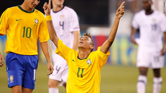 Neymar celebrates scoring his first goal for Brazil in last week's friendly international against the United States.