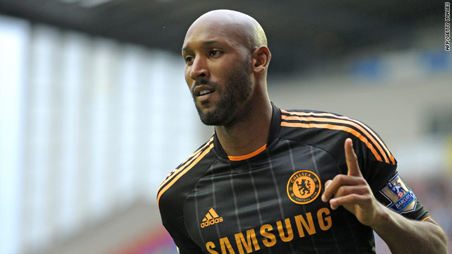 Chelsea striker Nicolas Anelka celebrates after scoring his first goal against Wigan Athletic on Saturday night.