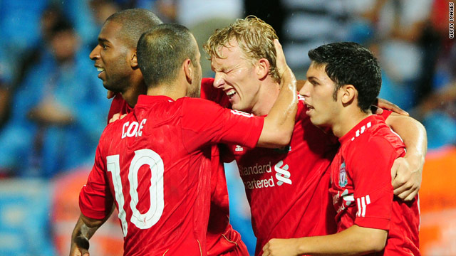 Liverpool players celebrate Dirk Kuyt's second and clinching goal in Turkey.