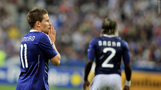 France forward Kevin Gameiro reacts to his country's 1-0 defeat to Belarus in Paris earlier this month.