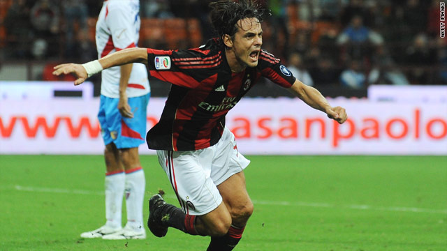 Filippo Inzaghi of AC Milan celebrates his goal during the Serie A match between AC Milan and Catania.