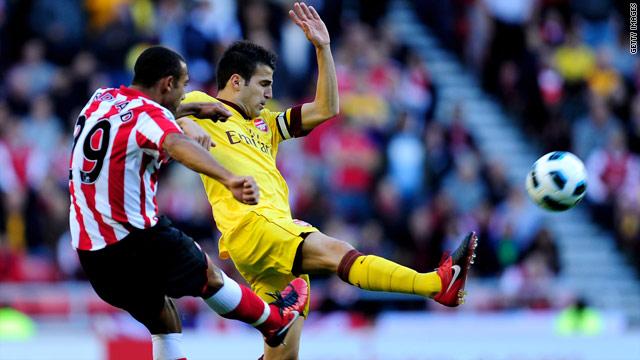 Cesc Fabregas scores Arsenal's bizarre opening goal against Sunderland at the Stadium of Light.