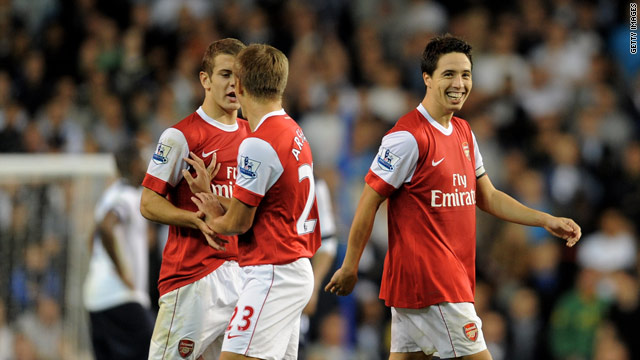 Samir Nasri is all smiles after scoring from the spot to put Arsenal ahead at White Hart Lane.