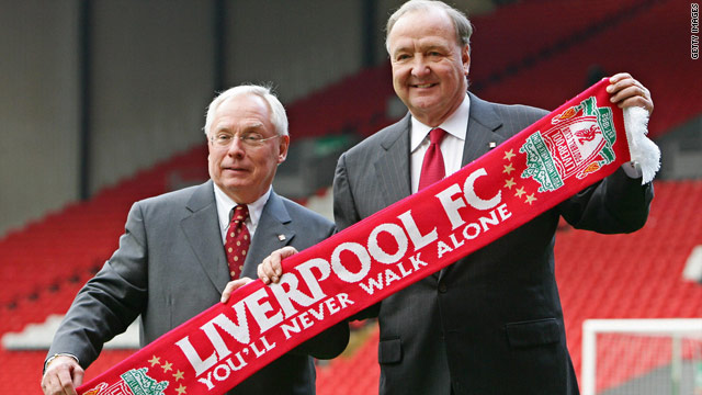 American co-owners George Gillett, left,and Tom Hicks put Liverpool up for sale in April.