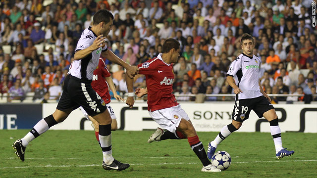 Javier Hernandez slams home his 85th minute winner against Valencia
