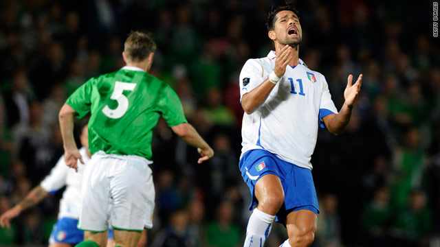 Italy striker Marco Borriello was left frustrated as the four-time world champions were denied a goal in Belfast.