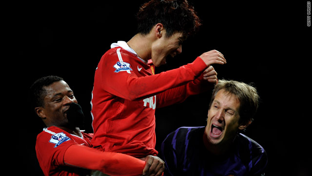 Park Ji-Sung takes the plaudits after his late winner at Old Trafford.