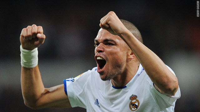 Pepe celebrates Real's second goal in the Bernabeu against Atletico.