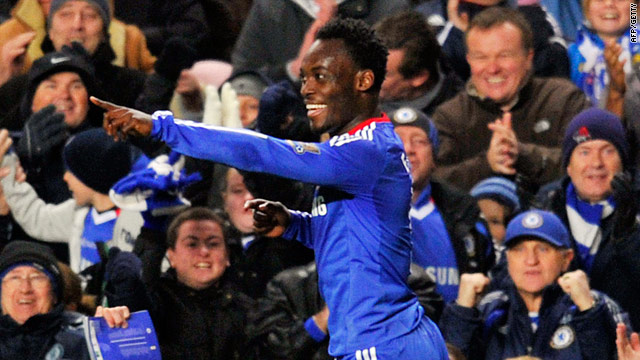 Michael Essien celebrates his goal but he was sent off in the second half.