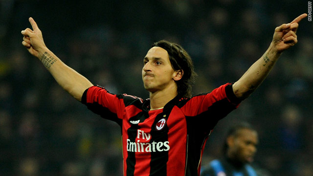 Zlatan Ibrahimovic celebrates his penalty goal against his former team Inter in the San Siro.