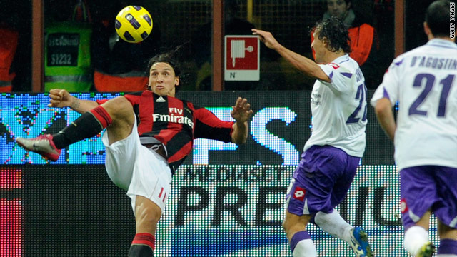Zlatan Ibrahimovic hooks an overhead kick into the Fiorentina net to give AC Milan the lead at the San Siro.
