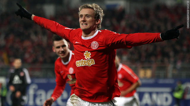 In-form Mainz striker Andre Schurrle celebrates his sixth goal of the season in Friday's victory against Nuremberg.