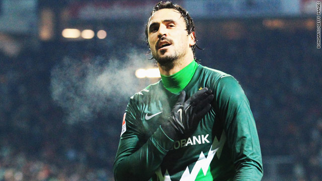 Hugo Almeida celebrates after completing his hat-trick in Werder Bremen's 3-0 victory over St. Pauli on Sunday.