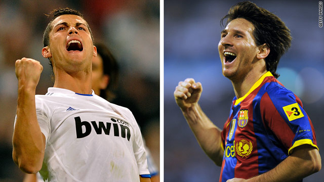Cristiano Ronaldo (left) and Lionel Messi (right) are widely regarded as the two best footballers in the world.