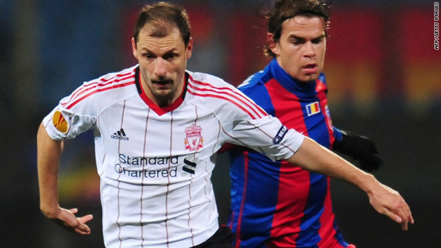 Milan Jovanovic, left, scored Liverpool's goal in the 1-1 draw with Romanian side Steaua Bucharest on Thursday.