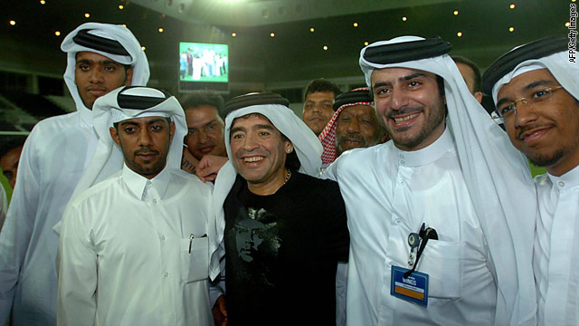 Argentina star Diego Maradona in Qatar during a visit to the country in 2005.