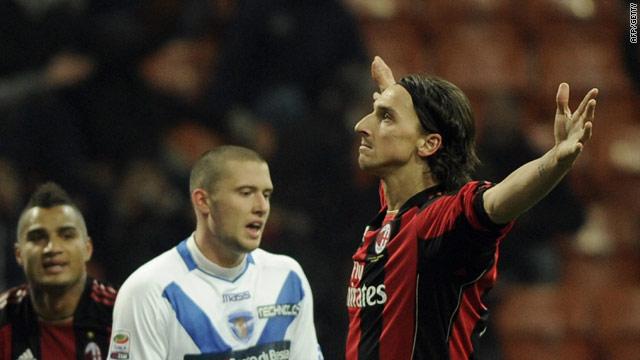 Zlatan Ibrahimovic celebrates his goal in traditional style as AC Milan beat Brescia 3-0.