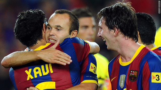 Xavi (left), Andres Iniesta (center) and Lionel Messi (left) have been key figures in Barca's recent success.