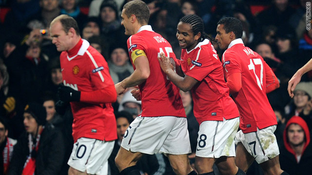 United players celebrate Anderson's equalizing goal in their 1-1 home draw against Valencia.