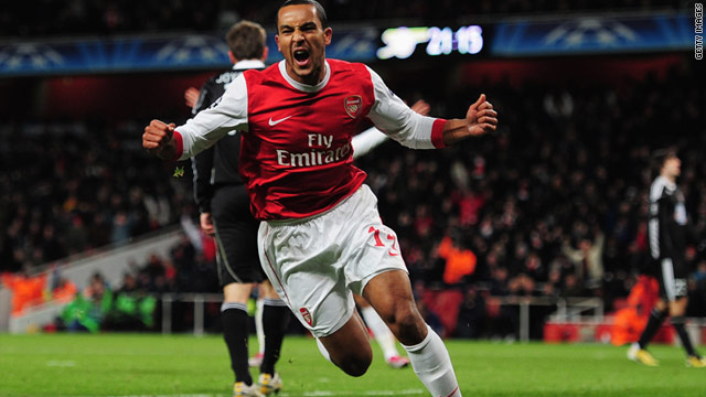 Joy mixed with relief as Theo Walcott scores Arsenal's second goal in a 3-1 win over Partizan Belgrade at The Emirates.