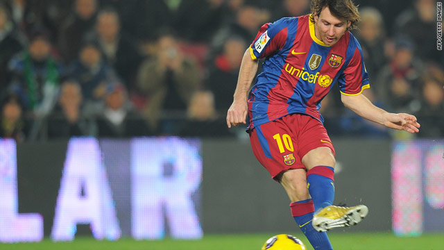 Lionel Messi scores one of his two goals as Barcelona produced another sensational display against Sociedad.