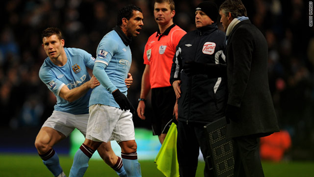 Tevez exchanged words when with City manager Roberto Mancini when he was substituted against Bolton.