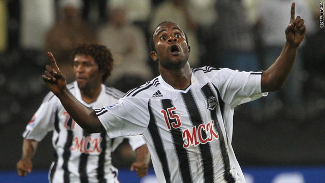 Mazembe's Dioko Kaluyituka celebrates his goal against Brazil's Internacional.