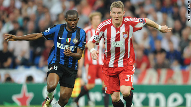 Inter's Samuel Eto'o, left, and Bayern's Bastian Schweinsteiger will meet again in the Champions League second round.