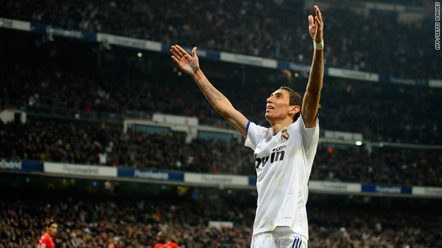 Real Madrid's Argentinian midfielder Angel di Maria celebrates after scoring against Sevilla in La Liga.