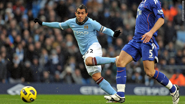 Manchester City's Carlos Tevez couldn't stop his side sliding to a 2-1 defeat against Everton.