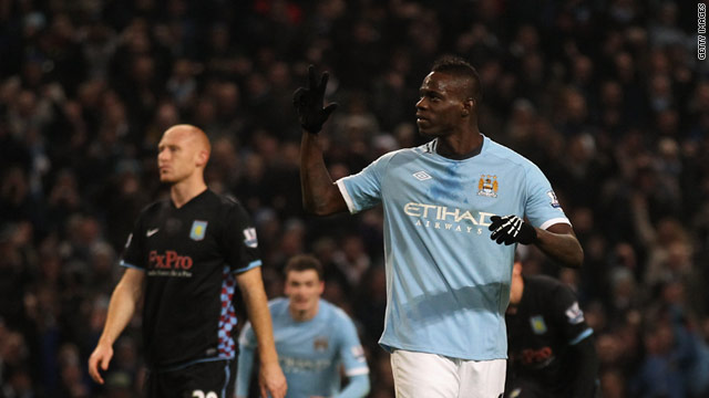 Mario Balotelli completes his hat-trick in Manchester City's 4-0 home win over Aston Villa.