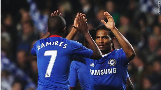 Florent Malouda celebrates his winning goal at Stamford Bridge to end Chelsea's poor run.
