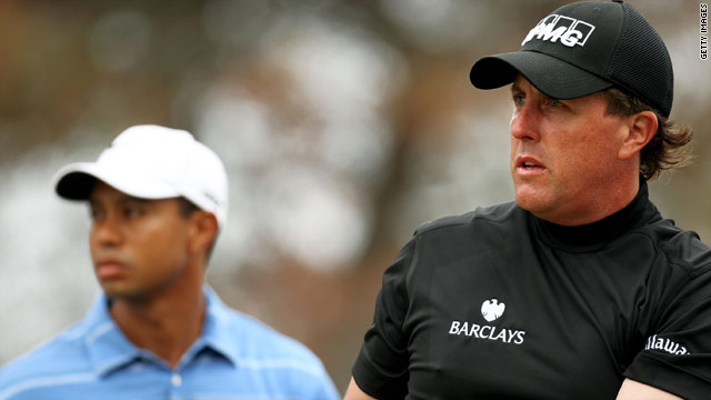 Phil Mickelson (right) could leave Tiger Woods in the shade at the The Players Championship in Florida.