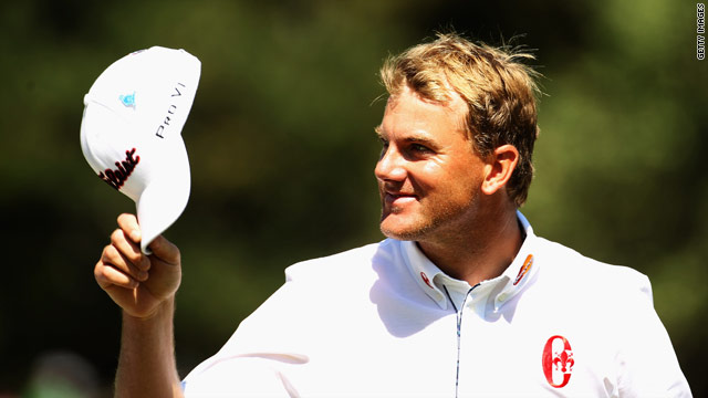 Karlsson acknowledges the gallery after completing his remarkable nine-under 62.