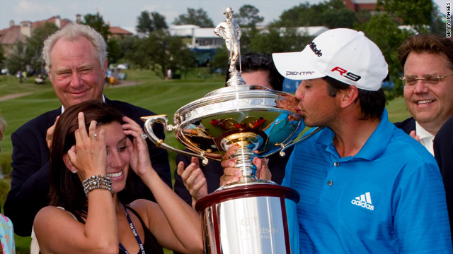 Jason Day was delighted to get his hands on his first major trophy on the PGA Tour.