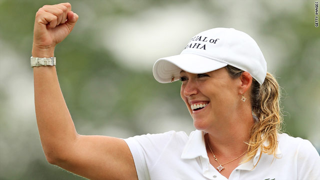 A delighted Cristie Kerr salutes her victory at the LPGA Championship.