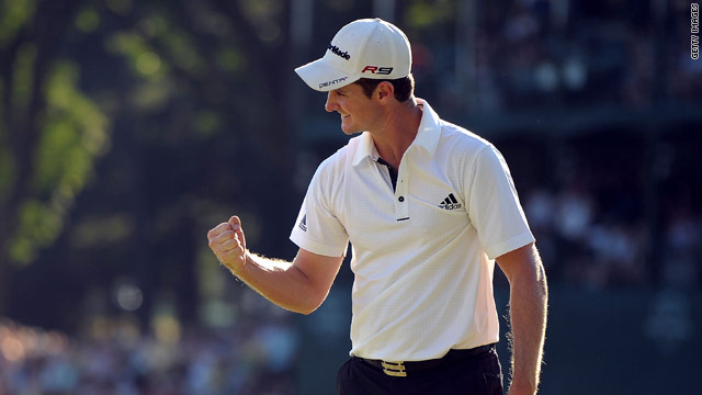 Rose punches the air after holing his winning putt to win the AT&T title.