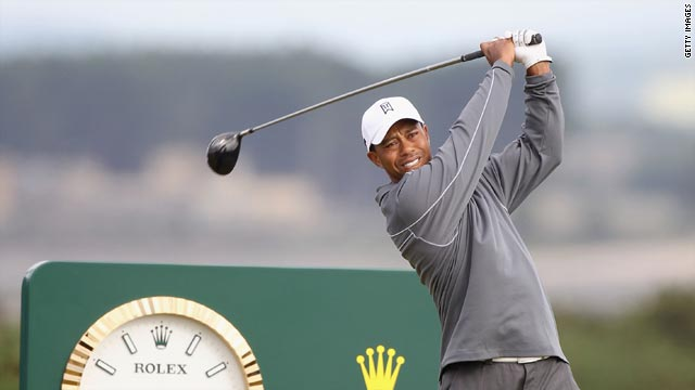 Tiger Woods in practice for the 139th British Open at St Andrews.