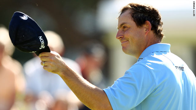 David Howell salutes the gallery after taking the lead at the Irish Open at the end of day one.