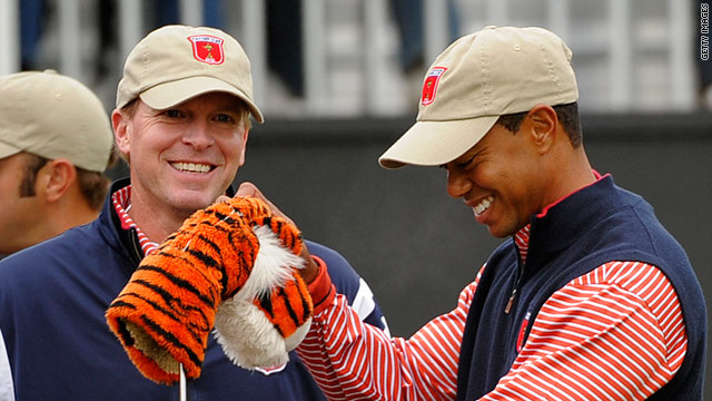 Tiger Woods will partner Steve Stricker (left) during the opening fourballs of the 2010 Ryder Cup