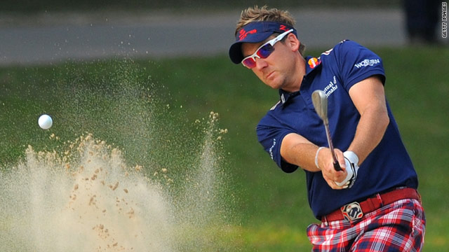 Ian Poulter hit a flawless round of 60 at the Hong Kong Open to take the lead.