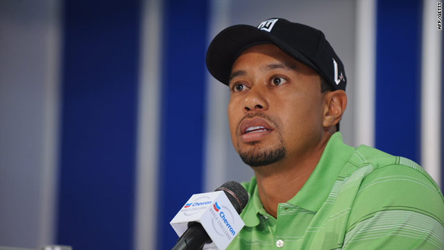 Woods talks to reporters ahead of the Chevron World Challenge in California.