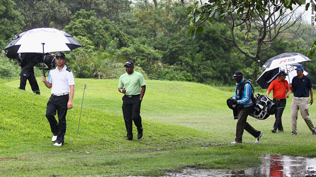 Heavy rain in Durban rendered parts of the course unplayable, leading organizers to halt proceedings.