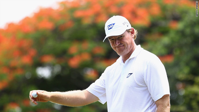 Ernie Els was all smiles as he carded a second straight 65 in Durban.
