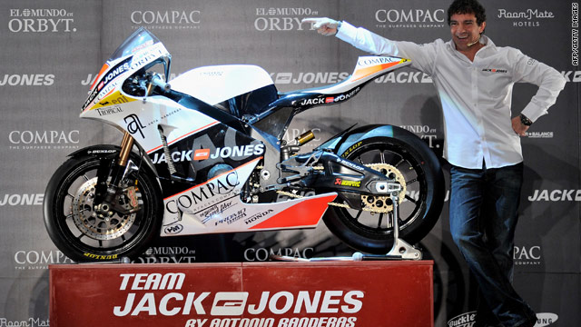 Antonio Banderas parades the new Jack & Jones bike that will compete in the Moto2 series.